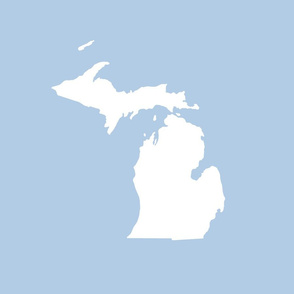 "Michigan silhouette - 18"" white on light blue"
