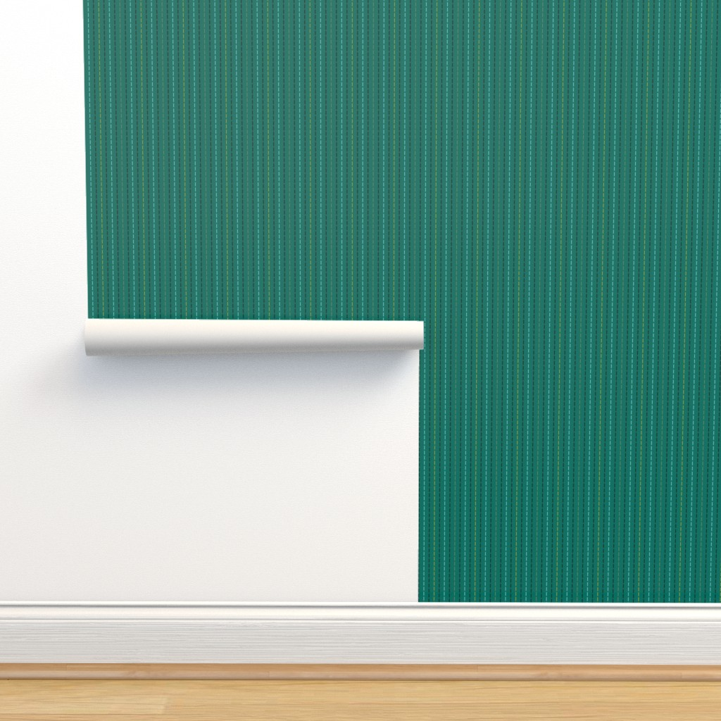 Isobar Durable Wallpaper featuring Running Stitch on Teal by anniecdesigns
