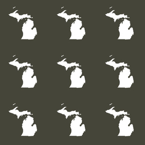 "Michigan silhouette - 6"" white on khaki"