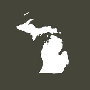 """Michigan silhouette - 18"""" white on khaki"""