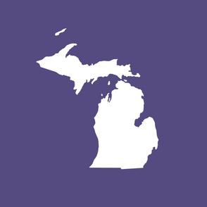 """Michigan silhouette - 18"""" white on purple"""