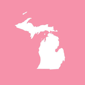 "Michigan silhouette - 18"" white on pink"