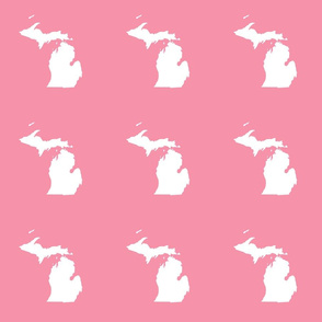 "Michigan silhouette - 6"" white on pink"