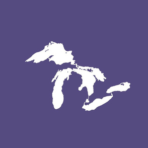 "Great Lakes silhouette - 18"" white on purple"