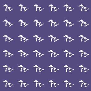 "mini Great Lakes silhouette - 3"" white on purple"