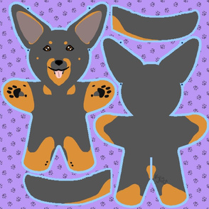 Kawaii Beauceron plushie on purple - black and rust