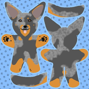 Kawaii Beauceron plushie on blue - harlequin