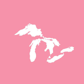 "Great Lakes silhouette - 18"" white on pink"