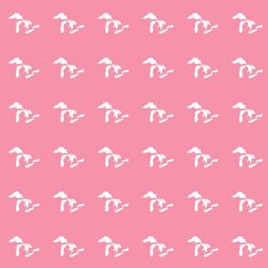 "mini Great Lakes silhouette - 3"" white on pink"