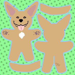 Kawaii Pitbull Terrier plushie on green - fawn