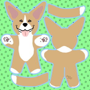 Kawaii Pitbull Terrier plushie on green - fawn and white