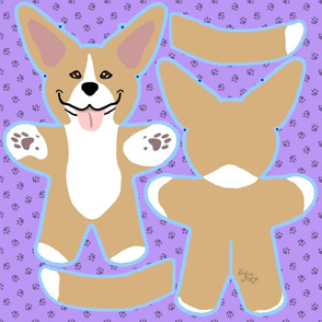 Kawaii Pitbull Terrier plushie on purple - fawn and white