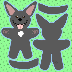 Kawaii Pitbull Terrier plushie on green - black