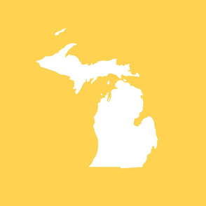 "Michigan silhouette - 18"" white on yellow"