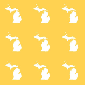 "Michigan silhouette - 6"" white on yellow"