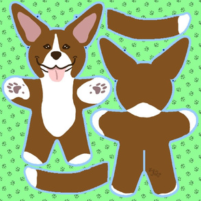 Kawaii Pitbull Terrier plushie on green - brown and white