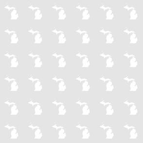 """mini Michigan silhouette - 3"""" white on pale grey"""