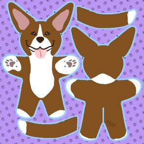 Kawaii Pitbull Terrier plushie on purple - brown and white