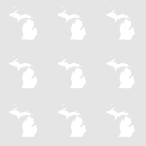"Michigan silhouette - 6"" white on pale grey"