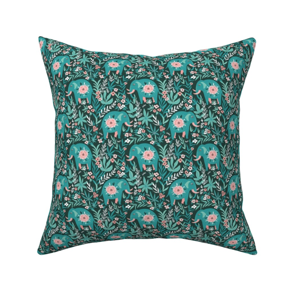 Catalan Throw Pillow featuring Elephants in the jungle by alenkakarabanova