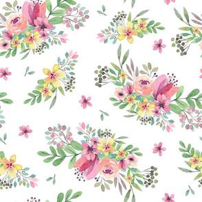 Fleur blanc - spring flower watercolor print fresh floral illustration