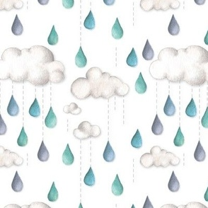 Happy rain - whimsical clouds with rain drops hand painted watercolor print