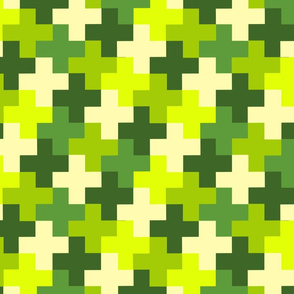 Mossy Green Multicoloured Crosses by Cheerful Madness!!