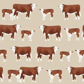 hereford cattle and calf fabric farm fabrics - sand