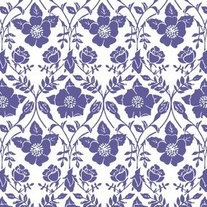purple linoprint roses