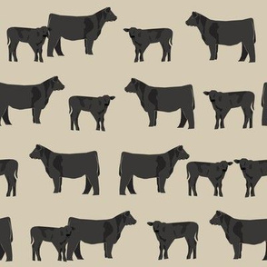 black angus fabric cattle and cow fabric cow design - sand