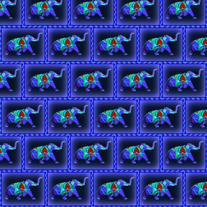 Stain Glass Elephant on Blue Background