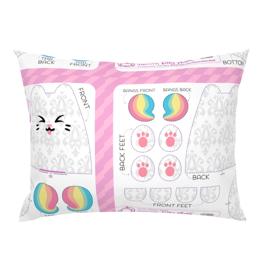 Campine Pillow Sham featuring Cut & Sew Rainbow Unicorn Kitty Plush by sewdesune