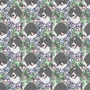 Floral Parti colored Standard Poodle portraits