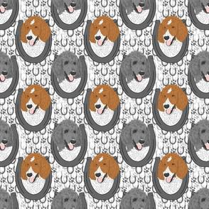 Parti colored Standard Poodle horseshoe portraits B