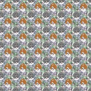 Floral Parti colored Standard Poodle portraits B - small
