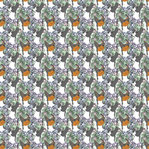 Floral Rat terrier portraits B - small