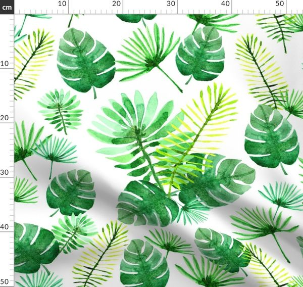Watercolor Tropical Plants Spoonflower