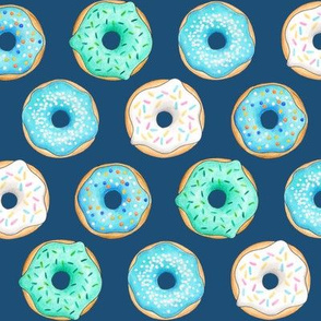 Iced Donuts - Blue on navy, 2 inch donuts
