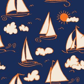 Sunny Sailboats on Navy// nautical sailing boat ships sunny sunshine clouds orange cream navy fabric
