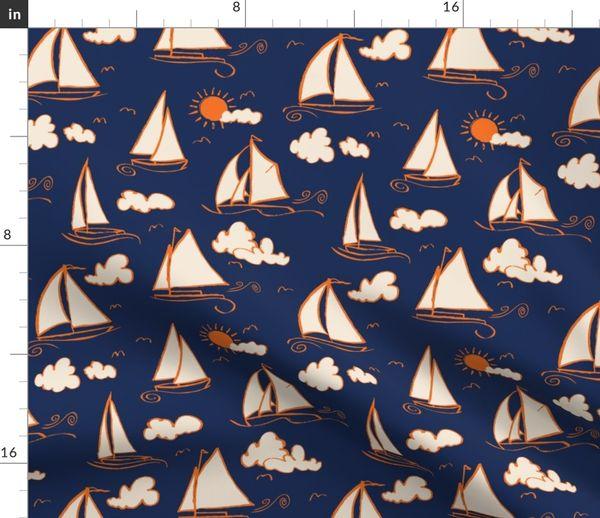 Smooth Sailing Sailboats Nautical Star Light Blue Boat Cotton Fabric Fat Quarter