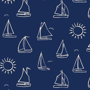 Sailboats Sketch on Cream // nautical sailing boat ships sunny sunshine navy fabric