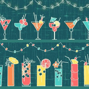 Tropical Hawaiian Cocktail Party // tiki cocktail drink party fabric