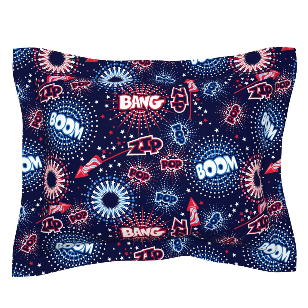 Sebright Pillow Sham featuring Fireworks with sound FX by cjldesigns