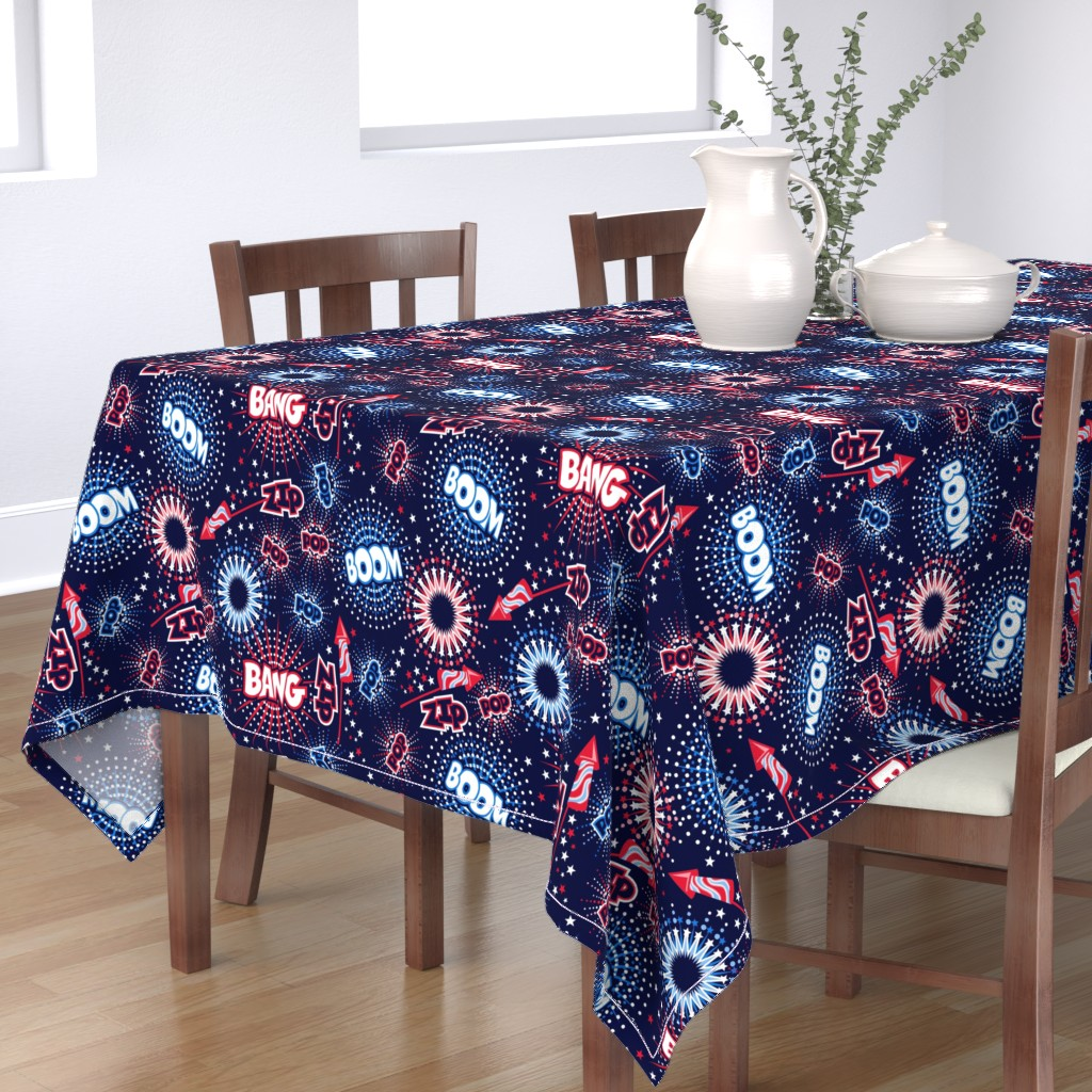 Bantam Rectangular Tablecloth featuring Fireworks with sound FX by cjldesigns