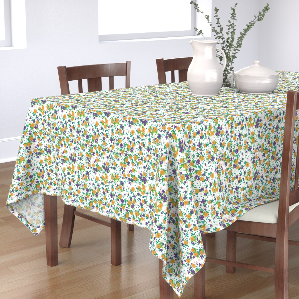 Bantam Rectangular Tablecloth featuring Yellow and Purple Flowers by toocoolunicorn