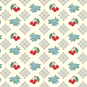 1940's Style Kitchen Cherry Wallpaper in Yellow: Small Print