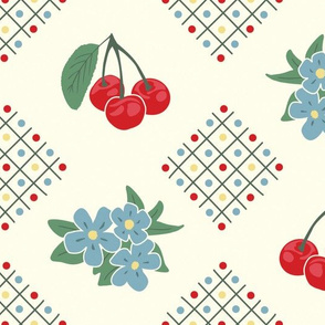 1940's Style Kitchen Cherry Wallpaper in Yellow: Large Print