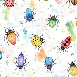Whimsical Watercolour Beetles - smaller scale