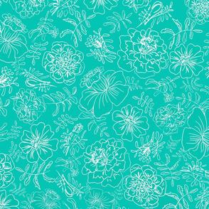 Marigolds_white on turquoise