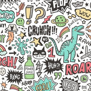 Superheroes  Dinosaurs Space  Galaxy Comic Speech Bubbles Doodle on White